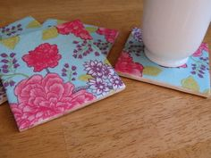 Curbly Video: Using Paper Napkins to Make Decorative Tile Coasters..ive done something like this before. ..super easy