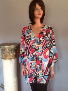 Tunic Top Women Plus Size 2X Maggie Barnes Multicolor Designer Fashion Festive #MaggieBarnes #Tunic #casualparty