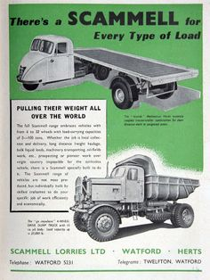 Scammell Scarab advertising Vintage Trucks, Old Trucks, Mechanical Horse, Old Lorries, Vintage Restaurant, Cab Over, Classic Chevy Trucks, Old Tractors, Dump Trucks