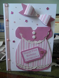 Baby Girl 1st Birthday - dress card