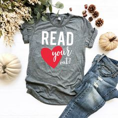 READ your Heart Out Reading Tshirt AY, This t-shirt is Made To Order, one by one printed so we can control the quality. School Shirts, Teacher Shirts, Teacher Stuff, Gifts For Librarians, Book Shirts, Tee Shirts, Personalized T Shirts, Direct To Garment Printer, Custom T