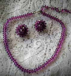 Vintage Amethyst Glass Demi Parure/Choker and earrings set   Jewelry & Watches, Vintage & Antique Jewelry, Costume   eBay!