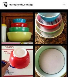 How to stack and display your, vintage Pyrex or whatever, bowls. Antique Booth Displays, Antique Booth Ideas, Vintage Display, Vintage Decor, 1950s Decor, Vintage Bowls, Vintage Kitchenware, Vintage Glassware, Pyrex Display
