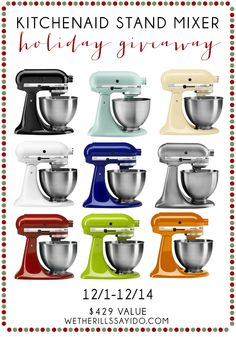 Win this awesome Kitchenaid Stand Mixer.  Enter today!