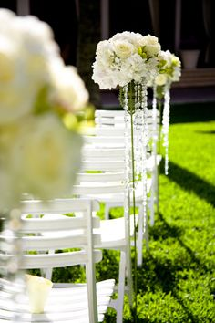 LOVE THIS! - love the crystals Wedding ceremony flowers, wedding aisle décor, pew flowers, wedding flowers, add pic source on comment and we will update it. www.myfloweraffair.com can create this beautiful wedding flower look.