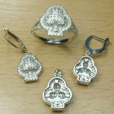 Massjewelry - Micro Setting White CZ 925 Sterling Silver Flower Full Jewelry Set