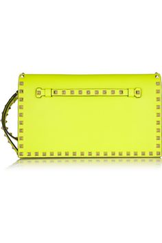 Leather Clutch, Clutch Bag, Valentino Rockstud Clutch, Rossi Shoes, Summer Fashion Outfits, Fall Fashion, Cute Handbags, Love Clothing, Yellow Leather