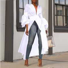 Sexy Deep V Collar Irregularity Casual Long Blouse – Dressisi Sexy Dresses, Casual Dresses, Fashion Dresses, Elegant Dresses, Fashion Blouses, Summer Dresses, Formal Dresses, Casual Outfits, Wedding Dresses