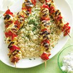 Yogurt-marinated Chicken Kebabs with Israeli Couscous Recipe | MyRecipes.com