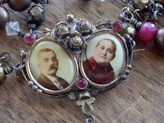 Antique Necklace Assemblage Victorian Double Photo Pin  Brass and Rubies
