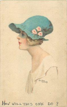 cabeza y hombros estudio de la señora en el sombrero azul con tres flores de su lado, vestido de crema, se enfrenta a la izquierda y se ve