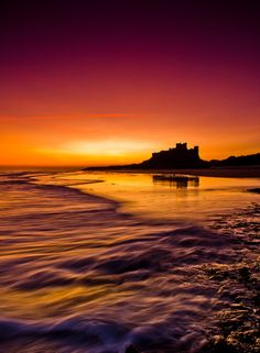 ~~Golden Bamburgh ~ Northumberland, England by Jonathan Combe~~ Northumberland England, Travel Channel, Sunset Photos, Grand Tour, Historical Sites, Dom, Wonders Of The World, Places To Go, Beautiful Places