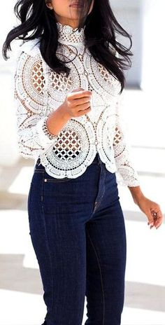 I love Lace + Denim, but leave your grandma's doilies on the back of the sofa where you found them! ;p