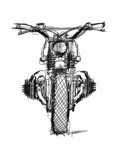 Bmw Motorcycle Art Print by Peter Fogg - Grafiken - Motorrad Motorcycle Art, Bike Art, Classic Motorcycle, Cool Art Drawings, Art Drawings Sketches, Bmw Cafe, Motos Vintage, Bike Drawing, Bike Sketch