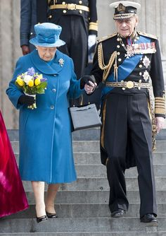 Last year the Duke gave the Queen his arm as she navigated the steep steps at St Paul's Ca...