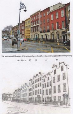 The south side of Molesworth st today and how it proberly looked in 1750 with Dutch Billys Ireland Pictures, Old Pictures, Old Photos, Dublin Street, Dublin City, Gone Days, Photo Engraving, Arran, Dublin Ireland