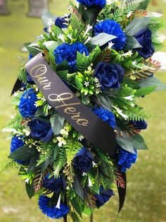 Cemetery Grave Decoration, Thin Blue Line, Fallen Officer Memorial, Grave Decorations, Blue Lives Ma Grave Flowers, Cemetery Flowers, Funeral Flowers, Silk Flowers, Cemetery Vases, Funeral Floral Arrangements, Flower Arrangements, Cemetary Decorations, Wreath Stand