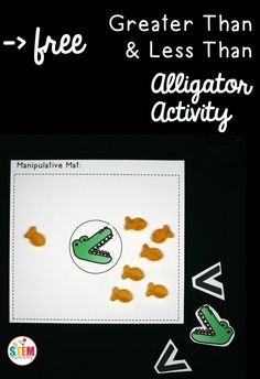 Greater than and less than alligators! Awesome way to practice more and less. Fun math center for kindergarten or first grade.