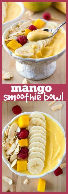 Mango Smoothie Bowl – A thick mango smoothie base is topped with healthy toppi. Mango Smoothie Bowl – A thick mango smoothie base is topped with healthy toppings to make for a f Mango Smoothie Recipes, Easy Smoothies, Fruit Smoothies, Mango Smoothie Healthy, Mango Recipes Healthy, Fruit Fruit, Acai Bowl Recipe Mango, Acai Bowl Recipe Thick, Smoothies Bowl Recipe