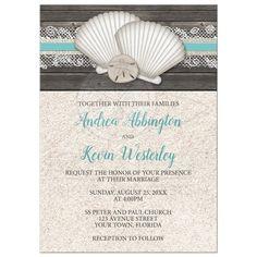 Wedding Invitations - Beach Seashells Lace Rustic Wood and Sand