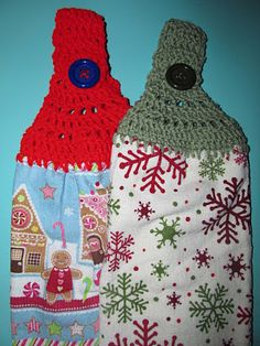 Simply Crochet Christmas towel toppers, I need to make these for the kitchen...maybe not in Christmas colors though!