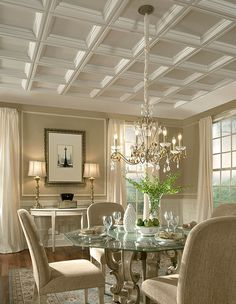Easy Elegance coffered ceiling panels provide the finishing touch to this tradi. Easy Elegance coffered ceiling panels provide the finishing touch to this traditional dining room Plastic Ceiling Panels, Drop Ceiling Tiles, Dropped Ceiling, Ceiling Decor, Ceiling Ideas, Ceiling Grid, Drywall Ceiling, Recessed Ceiling, White Ceiling