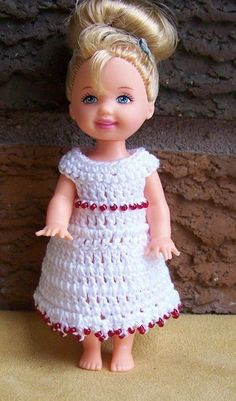 """Kelly 4 1/2"""" Doll #111 White Dress with Red Seed Beads Crocheted"""