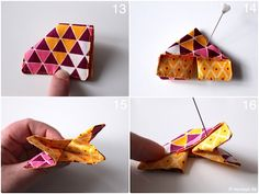 Origami butterfly fabric sewing instructions fabric scraps modage 8 - Tours,Trips,Home Decoration,Hairstyle Bear Origami, Kids Origami, Origami Butterfly, Butterfly Crafts, Diy Old Books, Old Book Crafts, Origami Envelope Easy, Origami Easy, Fabric Origami