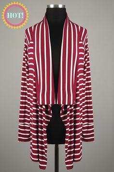 *** New Style *** Long Sleeve Knit Cardigan with Draped Open Front in Classic Stripes.