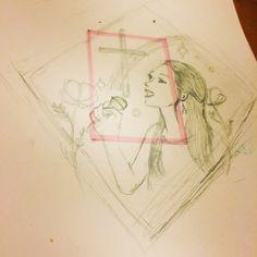 ピンクの枠のなかに収まるように描きたかったのに、まったく無視してしまったw(๑´•.̫ • `๑)下描き。