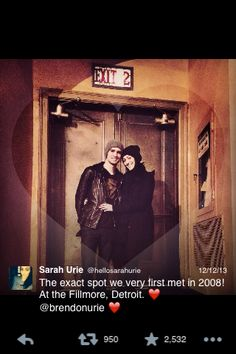 Brendon Urie and his wife Sarah. Awwww