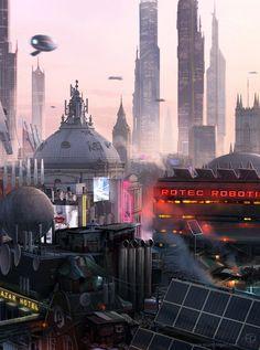 Metropolis of Tomorrow: Photo Cyberpunk 2020, Futuristic City, Futuristic Architecture, Fantasy City, Sci Fi Fantasy, Sci Fi City, Science Fiction Art, Fantasy Landscape, Future City