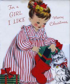 Yo tenia una pijama como esta y me la ponia para recibir los regalos del niño Jesus! Girl and kitten at Christmas.