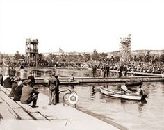 Racing Day at Fleishhacker Pool-Fleishhacker Pool was a popular pool in San Francisco that was filled with ocean water. It was the largest swimming pool in the world.