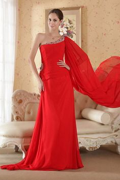 Red Column One Shoulder Watteau Train Chiffon Beading and Sequins Prom Dress - Magnet Mode City Dama Dresses, Best Prom Dresses, Red Wedding Dresses, Cheap Evening Dresses, Prom Dresses For Sale, Prom Dresses Online, Bridesmaid Dresses, Dresses 2013, Event Dresses