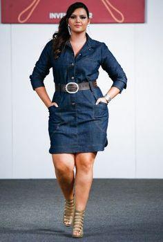 Plus Size Looks for 2013 | Vestidos jeans modelos 2013-sucesso entre as mulheres | Clique Moda