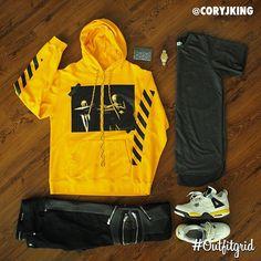 Today's top #outfitgrid is by @coryjking. ▫️#OffWhite #Hoodie ▫️#PremiumCo #Tee ▫️#SaintLaurent #Denim ▫️#JordanIV #Tour