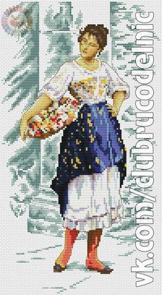"""Quiet Day at the Flower Market"" Adapted from artwork ""Venetian Flower Seller"", 1895 by Eugene de Blaas All Craft, Crafty Craft, Crochet Cross, Flower Market, Hobbies And Crafts, Blackwork, Needlepoint, Cross Stitch Patterns, Needlework"