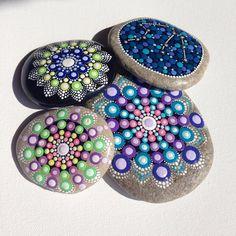 Big Dot Art Mandala Painted Stone Purple Gift by CreateAndCherish