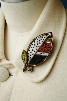 Felt and zipper  leaf brooch. $34.00, via Etsy.