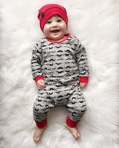 Baby Rompers Children Autumn Clothing Newborn Baby Clothes Cotton Long Sleeve Mustache Printed Baby Boy Jumpsuit - Kid Shop Global - Kids & Baby Shop Online - baby & kids clothing, toys for baby & kid Baby Outfits Newborn, Baby Boy Newborn, Toddler Outfits, Baby Boy Outfits, Kids Outfits, Fall Outfits, Dress Outfits, Fashion Kids, 90s Fashion