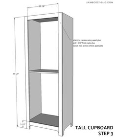 tall cupboard - buildsomething.com Diy Kitchen Storage Cabinet, Cupboard, Diy Woodworking, Woodworking Projects Plans, Diy Furniture Building, Wood Ideas, Home Remodeling, Basement, Honey