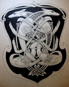 Celtic dog 2 by knotty-inks on DeviantArt Norse Tattoo, Celtic Tattoos, Ancient Tattoo, Celtic Tribal, Celtic Art, Viking Designs, Celtic Designs, Scandinavian Tattoo, Backpiece Tattoo