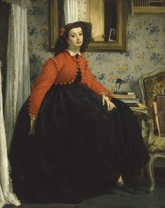 "James Tissot, Portrait of Miss L.L., 1864  From the Musée d'Orsay:    From 1859 onwards, James Tissot exhibited works inspired by history and mediaeval literature at the Salon, with some success. In 1861 he won official recognition with the State's purchase of The Meeting of Faust and Marguerite, also in the Musee d'Orsay. In 1864, however, Tissot abandoned this vein to ""enter our century"" as Théophile Gautier remarked in his commentary on the exhibition. He exhibited"