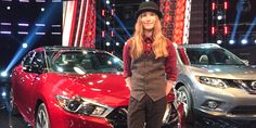 Sawyer and his new red Nissan courtesy of The Voice