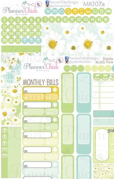 Daisies Month View Kit ~ Set of 2 for the month view pages in your Erin Condren or other large planner