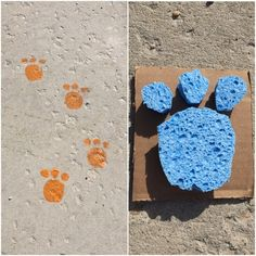 Cute Kids Reading Books-This bear paw print stamp was super easy to make. I just cut one large circle and 3 small circles from a sponge and glued them to cardboard. After dipping the stamp in paint and placing it on the sidewalk you have created bear paw prints that are a sure to be a hit with your munchkin! I used this as an opportunity to talk with Gus about bears that live in the wilderness.