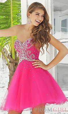 Short Strapless Beaded Dress by Blush at PromGirl.com