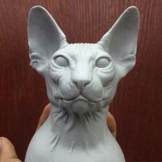 Sphynx Cat sculpture by tdelgiudice on DeviantArt Ceramic Sculpture Figurative, Sculpture Clay, Polymer Clay Cat, Hand Carved Walking Sticks, Creepy Cat, Clay Cats, Biscuit, Sphynx Cat, Art Drawings Sketches Simple