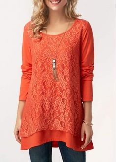 Long Sleeve Orange Layered Lace Panel Blouse on sale only US$29.69 now, buy cheap Long Sleeve Orange Layered Lace Panel Blouse at liligal.com